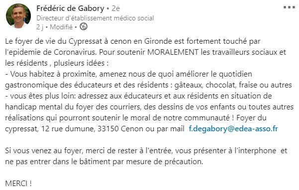 Message Frederic de Gabory